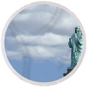 Lady Liberty   1 Round Beach Towel by Allen Beatty