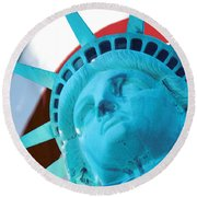 Lady Liberty  Round Beach Towel by Jerry Fornarotto
