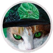 Lady Little Girl Cats In Hats Round Beach Towel by Michele Avanti