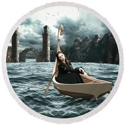 Lady Of Llyn-y-fan Fach Round Beach Towel