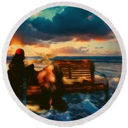 Lady Of The Ocean Round Beach Towel