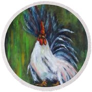 Lady Pleaser, Rooster  Round Beach Towel