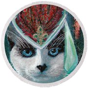 Lady Snowshoe Round Beach Towel by Michele Avanti