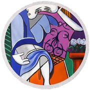 Lady With Blue Dress Round Beach Towel