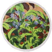 Ladybirds Round Beach Towel by Andrew Macara