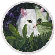 Ladybugs And Cat Round Beach Towel