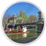 Lagoon Bridge And Swan Boat Round Beach Towel