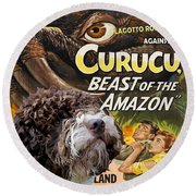 Lagotto Romagnolo Art Canvas Print - Curucu Movie Poster Round Beach Towel