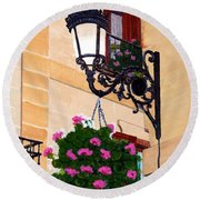 Laguardia Street Lamp  Round Beach Towel by Mike Robles