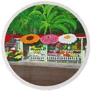Laguna Beach Flower Stand Round Beach Towel by Mike Robles