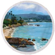 Laguna Beach Winter Round Beach Towel