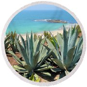 Laguna Coast With Cactus Round Beach Towel