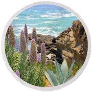 Laguna Coast With Flowers Round Beach Towel