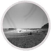 Round Beach Towel featuring the photograph Laguna Sunset Reflection by Connie Fox