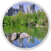 Lake And Two Ducks In Central Park Round Beach Towel