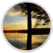 Lake At Sunrise Round Beach Towel