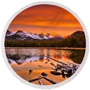 Lake Bierstadt In The Morn Round Beach Towel