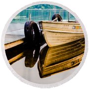 Lake Boat Reflection Round Beach Towel