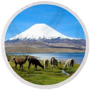 Lake Chungara Chilean Andes Round Beach Towel