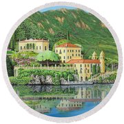 Lake Como Morning Round Beach Towel