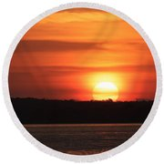 Lake Conroe Sunset Round Beach Towel