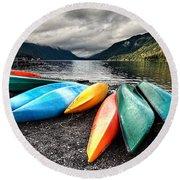 Lake Crescent Kayaks Round Beach Towel