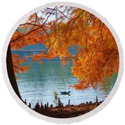Lake Ella Morning Round Beach Towel