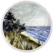Lake From The Dunes Round Beach Towel by Michelle Calkins
