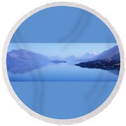 Round Beach Towel featuring the photograph Lake Glenorchy New Zealand by Ann Lauwers