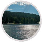 Scenic Lake Photography In Crestline California At Lake Gregory Round Beach Towel