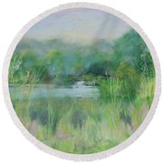 Lake Isaac Impressions Round Beach Towel