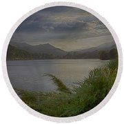 Round Beach Towel featuring the photograph Lake Junaluska by Dennis Baswell