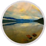 Lake Kaniere New Zealand Round Beach Towel