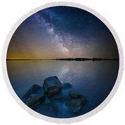 Lake Madison Milky Way Round Beach Towel