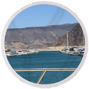 Lake Mead From The Marina Round Beach Towel
