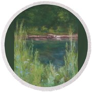 Lake Medina Round Beach Towel