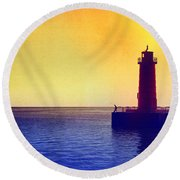 Lake Michigan Round Beach Towel by Erika Weber