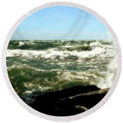 Lake Michigan In An Angry Mood Round Beach Towel