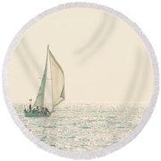 Lake Michigan Sailing Round Beach Towel