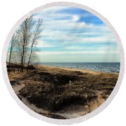 Round Beach Towel featuring the photograph Lake Michigan Shoreline by Lauren Radke
