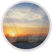 Lake Michigan Sunset With Dune Grass Round Beach Towel