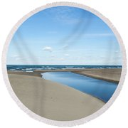 Lake Michigan Waterway  Round Beach Towel