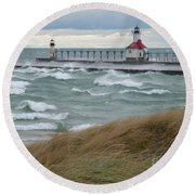 Lake Michigan Winds Round Beach Towel by Ann Horn