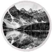 Lake Moraine Reflection Round Beach Towel