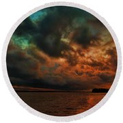 Lake Murray Fire Sky Round Beach Towel