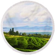 Lake Naivasha From Home Round Beach Towel by Anthony Mwangi