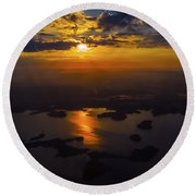Lake Norman Sunrise Round Beach Towel by Greg Reed