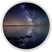 Lake Oahe Round Beach Towel