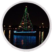 West End Boat Parade - Lights On The Lake, Lake Pontchartrain, New Orleans La Round Beach Towel