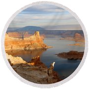 Lake Powell From Alstrum Pt 12 Round Beach Towel
